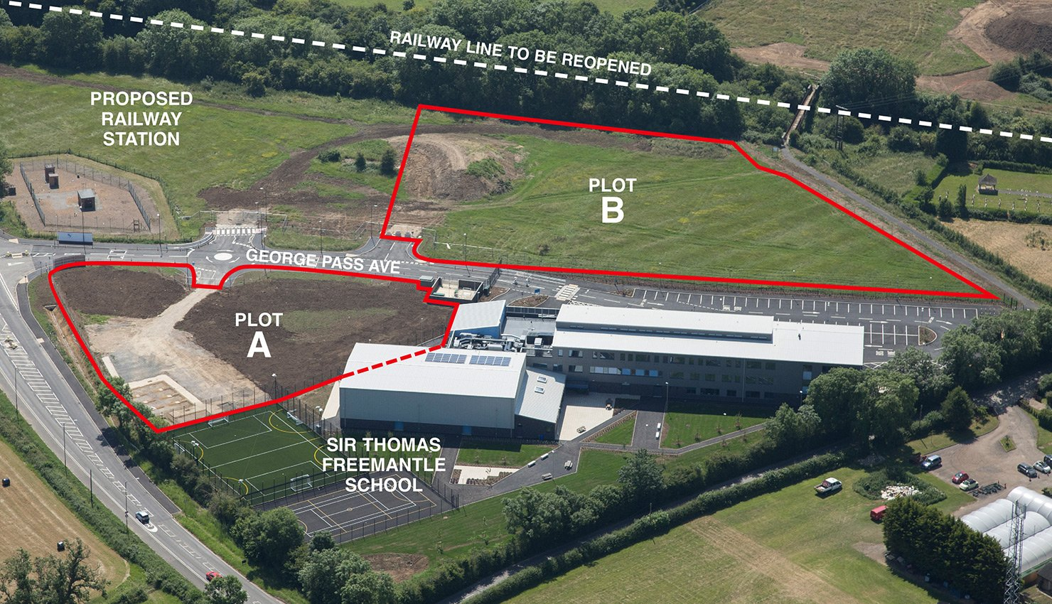 Diagram of proposed development sites at Winslow Business Park